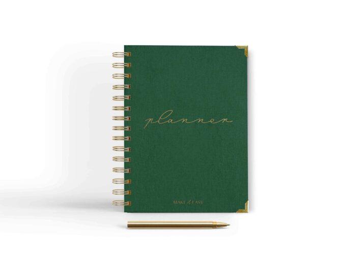 zielona okładka planner