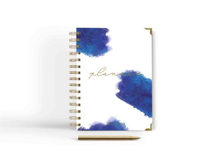 niebieska okładka planner