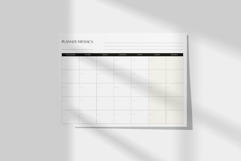 planer miesięczny na biurko